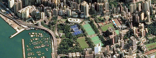 Pléiades image (resolution 0.5 m, 23.11.2018), Victoria Park, Hong Kong, © CNES 2018, Distribution Airbus DS - Victoria Park, named after Queen of the United Kingdom, is quite often used as a gathering point for marches, also the event of the Umbrella Revolution has taken place nearby in 2014.