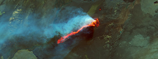 Landsat-8 image (resolution 15 m, 6.9.2014), Holuhraun lava field, Iceland, © 2014 USGS, NASA - The view of the ongoing eruption on the Holuhraun lava field captured in the false-color image. The image combines two infrared bands and green light. The lava flow is 12 km long.