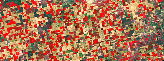 Landsat-5 image (resolution 30 m, 04.05.2012), Ulysses, Kansas, USA, © 2012  USGS, NASA, ESA - This false-colour image shows agricultural structures near the city of Ulysses. The cropland is divided into circles and rectangles due to the different types of irrigation systems.