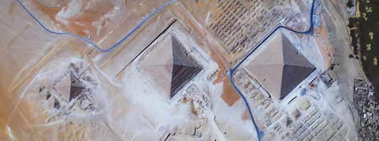 Iris image (resolution 1 m, 2.5.2016), Giza, Egypt, © 2016 UrtheCast - The Giza Pyramid Complex, the oldest but the only remaining part of the Seven Wonders of the Ancient World, pictured by Iris, UHD video camera onboard the International Space Station.