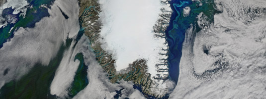 AQUA / MODIS image (500 m resolution, 26.7.2016), Greenland, Danish Realm, © 2016 NASA - Clear view of nearly cloud-free Greenland is very rare. NASA's Aqua satellite captured this image of the island, its massive ice sheet and surrounding waters.