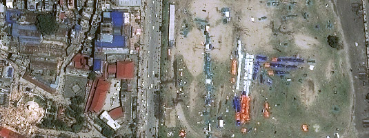 Pléiades image (resolution 0.5m, 27.4.2015), Kathmandu, Nepal, © CNES 2015, Distribution Airbus DS - Collapsed Dharahara tower, that was formerly the tallest building in Nepal (near the lower left corner of the image) and the shelters of displaced persons after the earthquake in 2015.