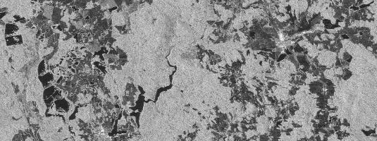 PALSAR image (resolution 20m, 8.5.2008), Třeboň region, © METI&JAXA [2008], Distributed by ERSDAC - PALSAR is the L-band microwave sensor on board the ALOS satellite that acquires radar imagery in multiple polarization modes and multiple spatial resolution.