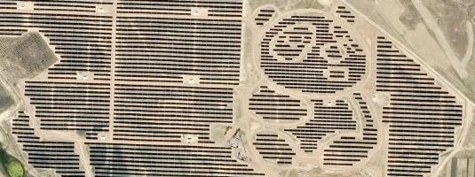 Pléiades image (resolution 0.5 m, 07.12.2017), Datong, China, © CNES 2017, Distribution Airbus DS - This Pléiades image shows panda-shaped solar farms in China. The plant was built by Panda Green Energy Group in Datong and hosted an estimated 1,500 acres of solar panels.