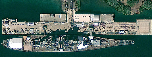 GeoEye-1 image, (resolution 0.5 m, 7.12.2011), Pearl Harbor, Hawaii, USA, © 2011 GeoEye - The day of 70th Anniversary of the the Pearl Harbor Attack. The USS Missouri, a museum battleship, docked at Battleship Row near the sunken battleship USS Arizona.