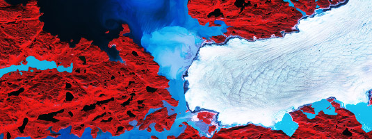 Sentinel-2B image (10 m resolution, 08.08.2017), Nordenskiold Glacier, Greenland, © 2017 Copernicus Sentinel Data, ESA - The Nordenskiold Glacier in this false-colour image is one of many glaciers, that are draining Greenland's ice sheet, the world's second largest ice sheet after Antarctica.