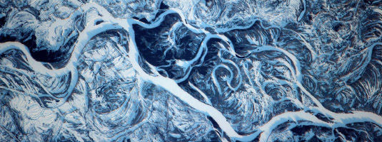 Image from ISS (09.02.2017), the Dnieper River, Ukraine, © 2017 NASA/ESA/Thomas Pesquet - European astronaut Thomas Pesquet captured this image of curling snowdrifts around the frozen Dnieper River from the International Space Station on February 2017.