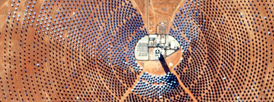 RapidEye-4 image (resolution 6.5 m, 11.05.2016), Khi Solar One, South Africa, © 2016 Planet Labs Inc. - Khi Solar One is a 50 MW solar thermal power plant, made of more than 4 000 mirrors focusing solar energy on a superheated steam boiler located on top a 205-metre high central tower.