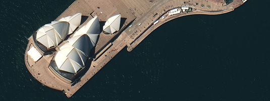 WorldView-2 Image (0.5m resolution, 20.10.2009), Sydney Opera House, Copyright © 2009 DigitalGlobe - One of the first WorldView-2 images. WorldView-2 is the first and so far the only very-high-resolution commercial satellite that provides 8-band multispectral imagery